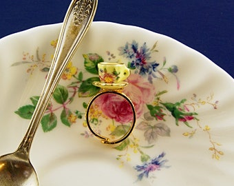 Yellow Teacup Ring - Tea Party Ring - Tea Gift Ideas - Adjustable Ring