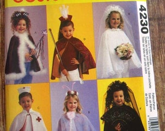 easy to sew girls halloween costumes nursemajorette bride headpieces and capes sizes 3 - 5 Girl Halloween Costumes