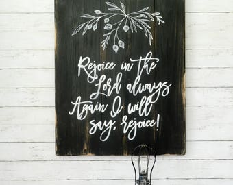 Rejoice Sign, Bible Verse Sign, Rustic Wall Art, Farmhouse Sign