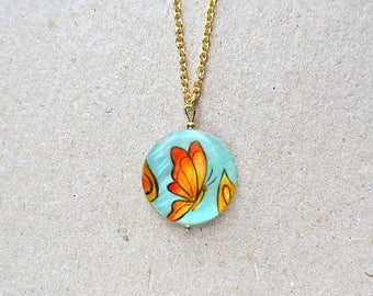 Butterfly Necklace Handpainted Butterfly Jewelry Turquoise Jewelry Turquoise Necklace Summer Necklace Bright Necklace Butterfly Pendant