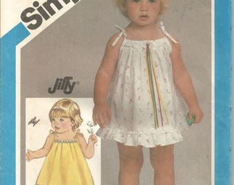 1980s Toddler Sundress Pullover Shoulder Ties Ruffle Easy to Sew Simplicity 6477 Uncut FF Toddler Girl Size 3 Girls' Vintage Sewing Pattern