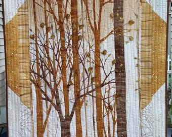 "Art Quilt, Forest Wall Hanging in Browns, Golds and Creams, Embellished with 3D glass leaves, size 28 x 38"", Quiltsy Handmade"