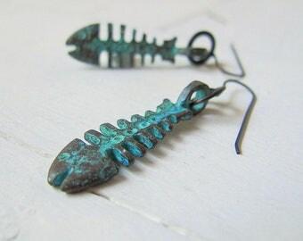 Bohemian Blue Fish Earrings, Mykonos Greek Copper, Patina Fish Skeleton, Boho Chic Jewellery, Festival Fashion, Black Brass Dangles, Nature