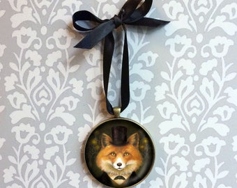 Victorian Fox Ornament -  Fox Portrait Miniature  - Fox Christmas Ornament -  Victorian Fox    - Ready to Hang - Fox Wall Hanging