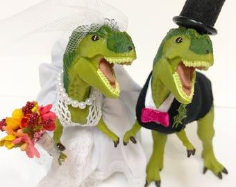 Custom Dinosaur Wedding Cake Topper, Animal Wedding Cake Topper-T-Rex Cake Topper-Prehistoric-Animal Cake Topper Wedding Topper