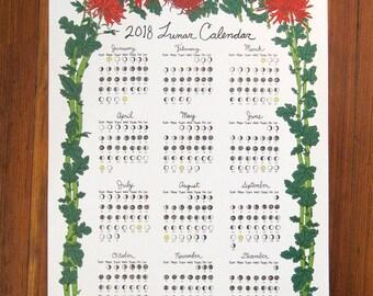 2018 Lunar Calendar - Chrysanthemum print
