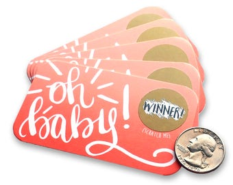 Oh Baby! - Baby Shower Scratch Off Game - Scratcher Card Game - Baby Shower Prizes - Baby Girl - Baby Shower Games - Pink - Baby Bingo