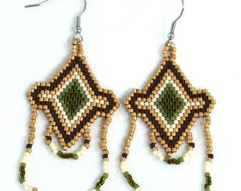 Boho Chandelier Earrings - Green and Brown - Boho Earrings - Surgical Steel Hooks