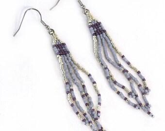 Long Fringe Earrings - Purple - Long Earrings - Surgical Steel Hooks