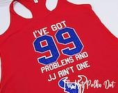 "Ladies ""I've Got 99 Problems and JJ Ain't One"" Houston Texans Red Racer Tank Houston Texans - JJ Watt Texans Shirts"