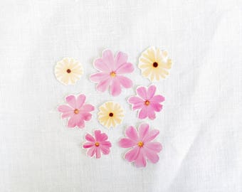 Pink Cosmos Real Flower Temporary Tattoo Multipack