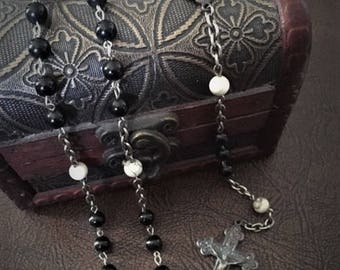 Vintage Sterling Silver and Obsidian Rosary