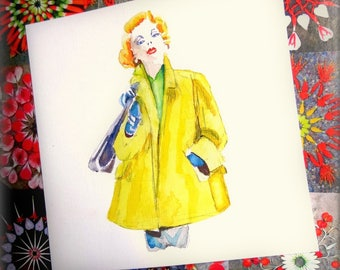 Original watercolor card. Lady in yellow coat.