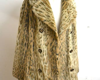 1970s Leopard print faux fur double breasted coat / 60s 70s ocelot fake fur animal skin jacket - M L