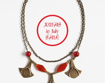Xmas in July Sale Ready to Ship Miyu Decay Palmier Necklace in Brass and Carnelian