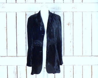 Vintage black crushed velvet/floral burnout long blazer jacket/ABS/12