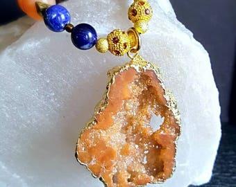 New! Large Orange Druzy Quartz Pendant Statement Necklace with Orange Chalcedony and Sodalite