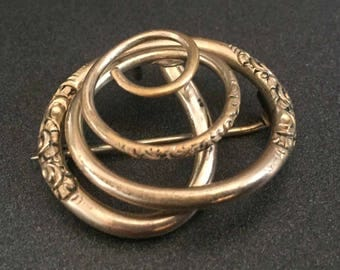 Antique Spiral Brooch Pendant, Gold Tone Brooch, Antique Jewelry, Victorian Jewelry, Antique Brooch Pendant