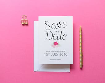 Harriet - Pink Floral Save the Date | Printed Save the Date | Floral Invitation | Floral Wedding | Bespoke Invite