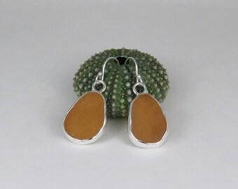 Golden Yellow Amber Sea Glass Bezel Earrings Maine