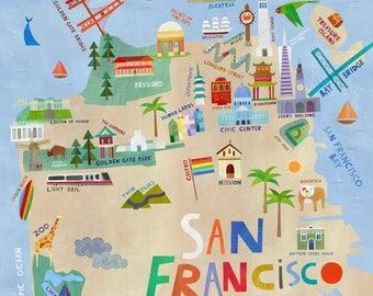 San Francisco Illustrated Map Art // Giclee Print
