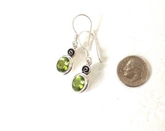 Birthstone earrings, Peridot earrings, birthstone peridot earrings, gemstone earrings, august birthstone earrings, silver and peridot, gift
