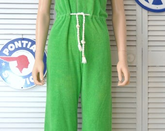 Vintage Womens Terry Cloth Pantsuit Jumpsuit Romper Onesie 60s Mod One Piece  Flare Bell Bottom Bright Green White Trim Zipper Front