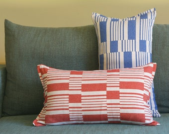 Red Graphic Stripe Pillow Cover , Cotton Woven Stripe Cushion Cover in Red and White , Yarn dyed Woven Stripe Pillow Cover in Red & White