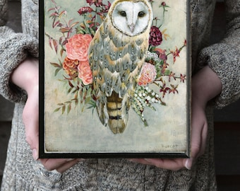Owl Gift for Her, Owl and Flowers Art, Owl and Flowers Picture, Owl Gift Ideas, Owl Nursery Art, Rustic Owl Print, Urban Barn Owl Painting
