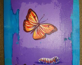 Butterfly w/ cocoon in Nature - Original Painting Folk Art