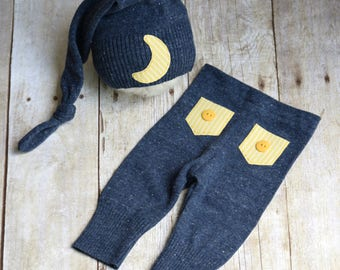Newborn Dark Blue with Yellow Moon Photography Prop Outfit Upcycled Hat and Pants Set Baby Boy Photo Props - READY TO SHIP