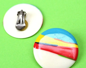 Colourful modern 1980s Vintage plastic Clip-On Earrings
