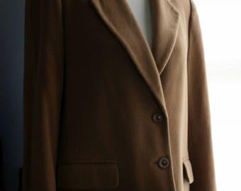 Vintage Blazer / 90s Minimalist Khaki Cashmere Wool Jacket / Lord and Taylor /Petite Medium