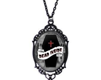 Dead Inside 30x40mm Black Cameo Necklace