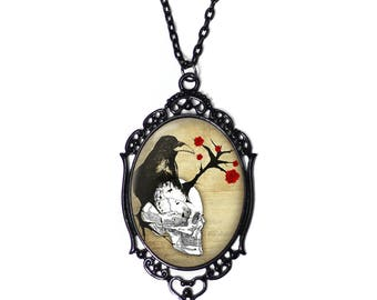 White Skull Raven and Red Rose 30x40mm Black Cameo Necklace