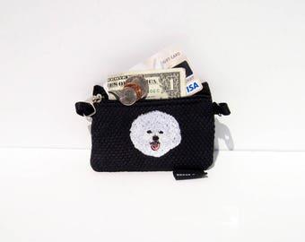 Bichon Frise Dog, Full Body,  Coin Purse on Black