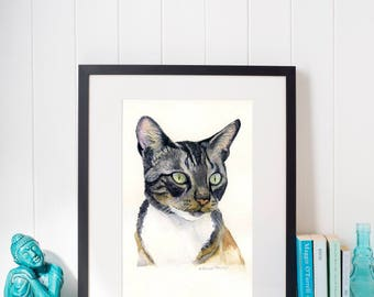 Custom Pet Portrait Painted from your Photos- Original Watercolor Painting by C.Raven - 8.3 x 11.7inches / A4