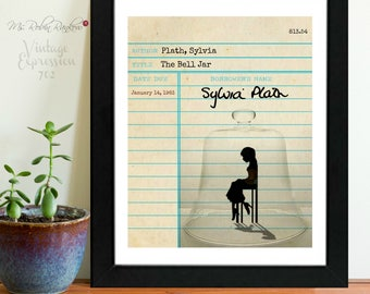The Bell Jar, Sylvia Plath, Vintage Library Card Art, Book Art, Print