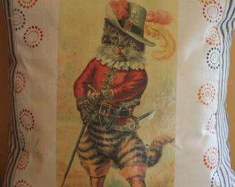 Vintage Hand Sewn, Hand Painted Dapper CatDressed in Finery With Sword FREE SHIP in USA