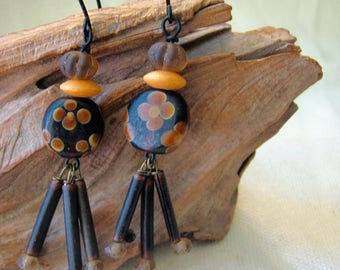 wild woodland surprise: brown and mustard dangle earrings