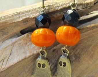 halloween ghost brass earrings
