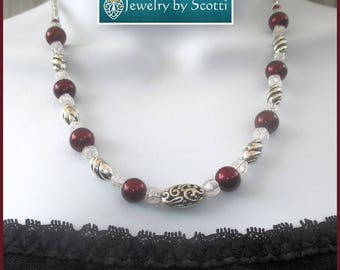 Elegant Beaded Necklace Pearls Metal Chain Sterling Silver Crystal Glass Burgundy Garnet Dark Red 17-19in Matching Earrings Available