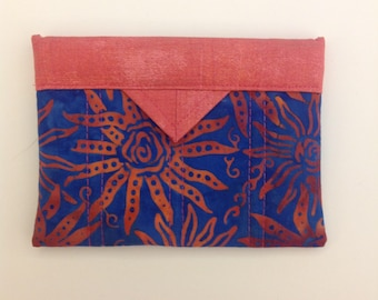"""Blue and Coral Quilted Fabric Mini Snap Bag Purse Organizer 5-1/2"""" x 4"""""""