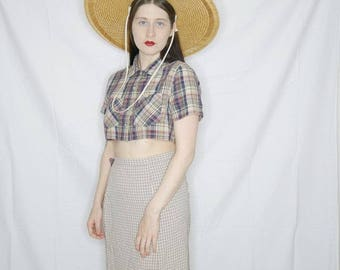 90s plaid crop top with raw hem size s/m