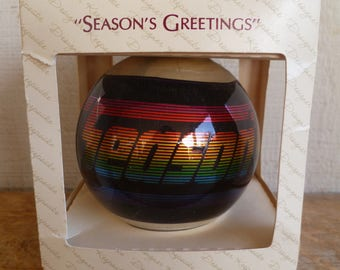 "1983 Hallmark Glass Christmas Ornament ""Seasons Greetings""  in Box"