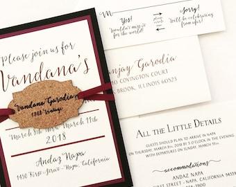 winery invitation with wine cork hangtag sample winery wedding invitation vineyard wedding invitation - Vineyard Wedding Invitations