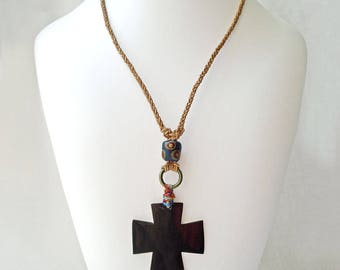 Braided Macrame Necklace, Carved Horn Cross Pendant, Crucifix Religious Jewelry, Y Necklace, Boho Chic, Post Apocalypse Tribal Style