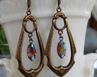 Edwardian drop assemblage earrings brass and topaz ab rhinestones vintage rhinestones 1950s Triolette