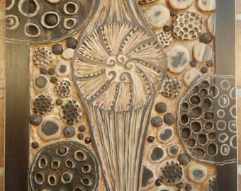 Nature art,woodcut art,seed pods,art by clare,garden art,wood wall art,carved wood panels,tree carving,abstract wall art,abstract flower art
