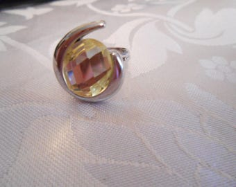 Vintage  ring, abstract ring, 1970s ring,Checkerboard citrine  crystal and geometric ,adjustable ring